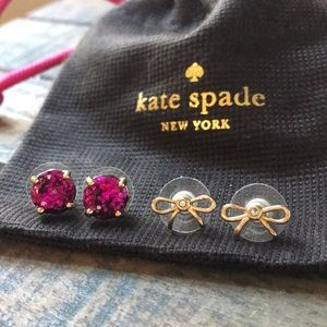 Kate spade glitter and bow earring set